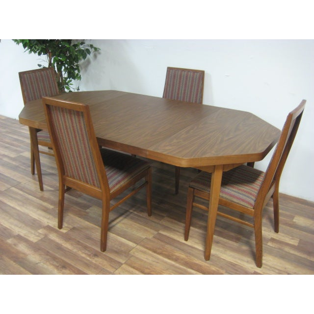 Vintage Dual Leaf Teak Dining Set - Image 7 of 11