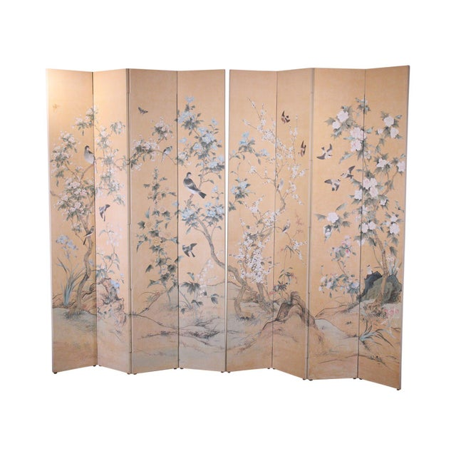 Monumental Oriental 2 Piece 8 Panel Hand Painted Folding Screen Room Divider For Sale - Image 13 of 13