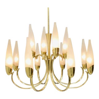 Large Glass & Brass Chandelier 1950s For Sale