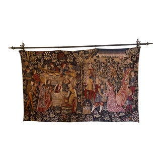 Vintage French Tapestry Wall Hanging in the Style of Aubusson For Sale