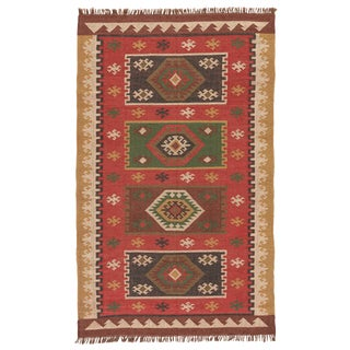Jaipur Living Amman Handmade Geometric Red/ Gold Runner Rug - 2′6″ × 8′ For Sale