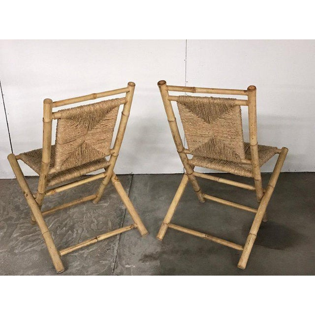 Modern Pair of Faux Bamboo Campaign Chairs in the Manner of Maison Jansen For Sale - Image 3 of 9