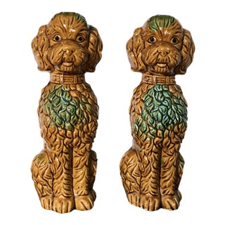Vintage Japanese Staffordshire Portuguese Water Dogs - a Pair For Sale