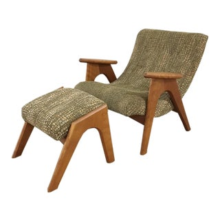 1950s Vintage Adrian Pearsall 862-C Chair & Matching Ottoman For Sale