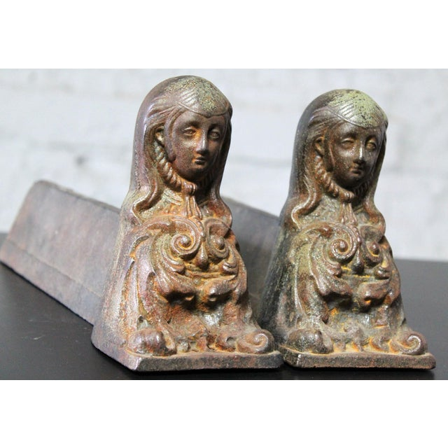 Antique French Cast Iron Female Figural Andirons or Firedogs - Pair For Sale - Image 4 of 11
