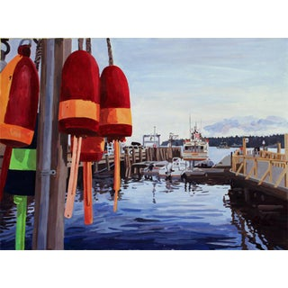 """""""Docked Buoys"""" Painting Giclee by Josh Moulton For Sale"""