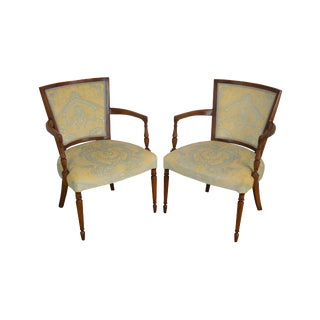 French Directoire Style Vintage Pair Armchairs For Sale
