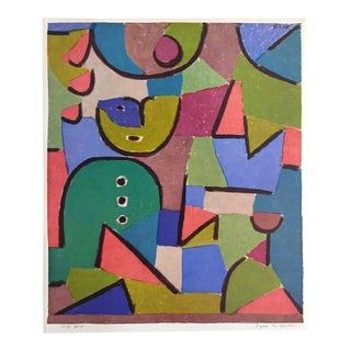 """Paul Klee Vintage 1960 1st Edition Modernist Lithograph Print """" Figure in Garden """" 1937 For Sale"""
