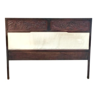 Antique Carved Asian Twin Headboard For Sale