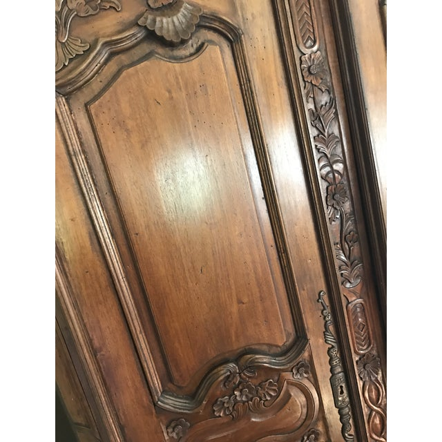 French Provincial Carved Wood Armoire - Image 3 of 8
