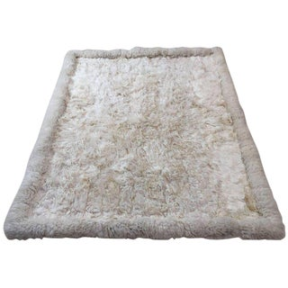 White Fluffy Sheep Skin Bed Throw or Rug For Sale