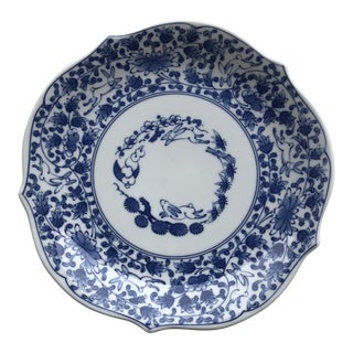 Aitou Blue and White Japanese Rabbit Plate, Signed For Sale
