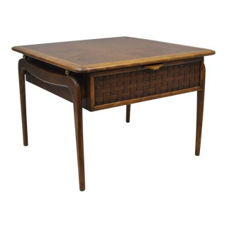 Lane Altavista Walnut Square One Woven Drawer End Table For Sale