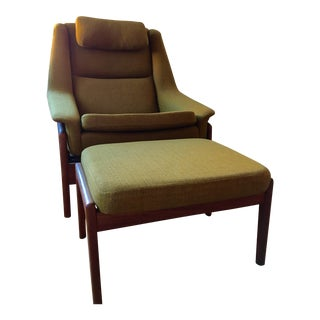 1960s Vintage Folke Ohlsson Dux Recliner and Ottoman-A Pair For Sale
