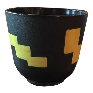 1970s Vintage French Black Ceramic Vessel With Yellow Geometric Design by Leon Elchinger For Sale