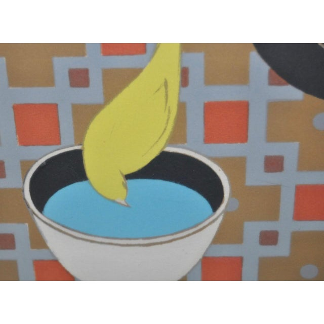 "1970s Will Barnet ""Cat and Canary"" Pencil Signed Lithograph C.1970s For Sale - Image 5 of 10"