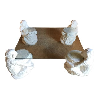 Hollywood Regency Vintage Monkey Glass Coffee Table For Sale
