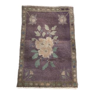 Hand Made Turkish Lavender Rug- 1′9″ × 2′10″ For Sale