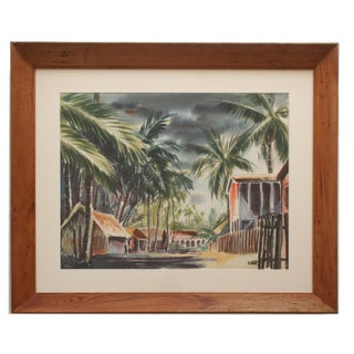 Vintage Large Tropical Watercolor For Sale