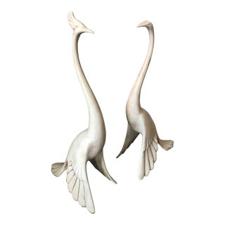 1960s Figurative Freeman McFarlin Ceramic Peacocks - a Pair For Sale