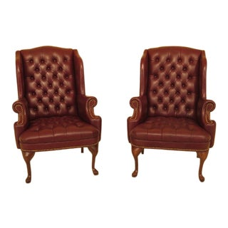 1990s vintage tufted leather chesterfield style wingback chairs a pair - Leather Wingback Chair