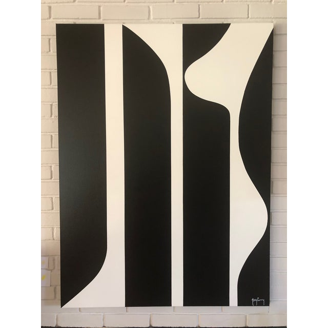 Large Modern Black & White Painting by Tony Curry For Sale - Image 4 of 4