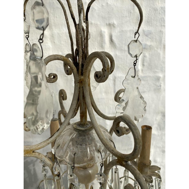 1940s Antique 1940s Painted Metal and Crystal Chandelier For Sale - Image 5 of 7