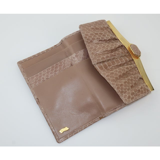 Gold Judith Leiber Taupe Snakeskin Wallet For Sale - Image 8 of 13