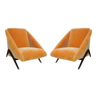 Geometric Italian Club / Lounge Chairs Attributed to Gio Ponti - A Pair For Sale