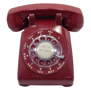 Red WE Rotary Dial Desk Phone Modular