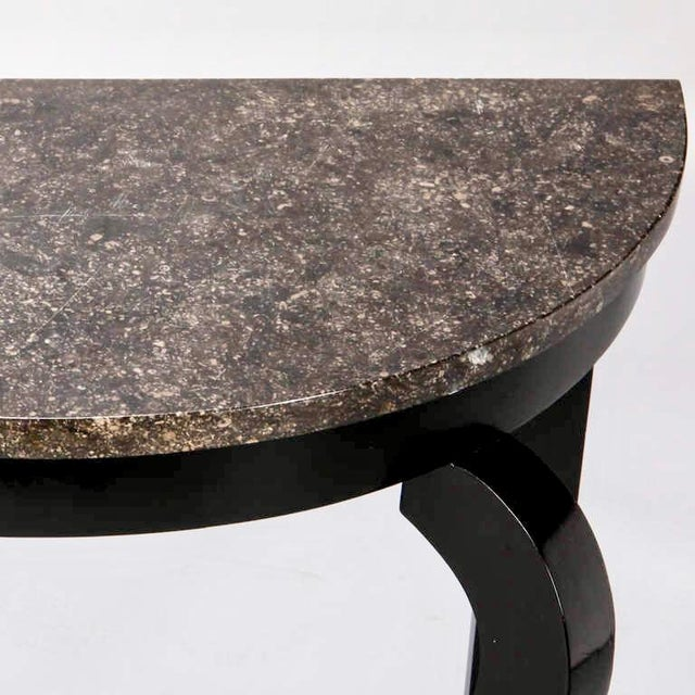 French Demi Lune Ebonised Console with Marble Top - Image 6 of 8