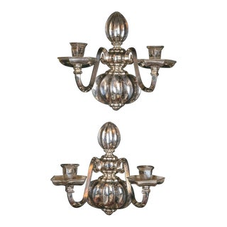 1920s Caldwell Silverplated Sconces - a Pair For Sale