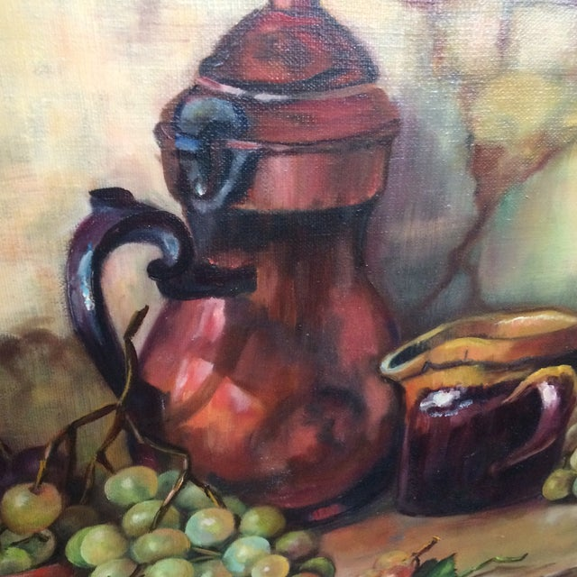Three Vintage Still Life Oil & Acrylic Framed Paintings by Sacramento Artist Fran King - Group of 3 For Sale - Image 9 of 13