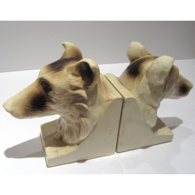 1950s Vintage Ceramic Dog Bookends - A Pair For Sale - Image 4 of 13