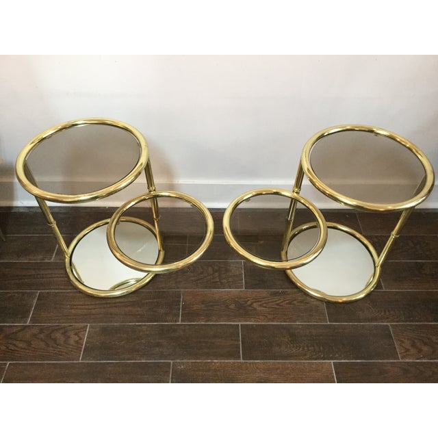1970's Swivel Brass Side Tables - Image 6 of 11