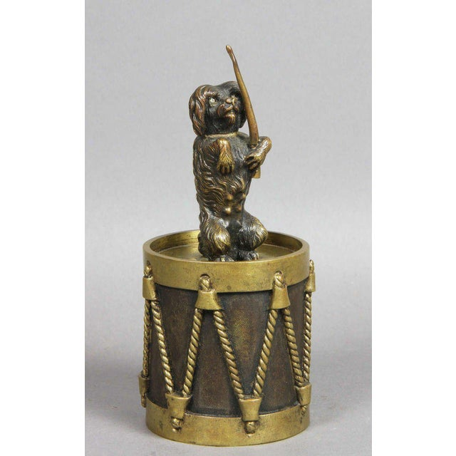 Bronze European Bronze Figure Of A Dog Seated On A Drum Dinner Bell For Sale - Image 7 of 7