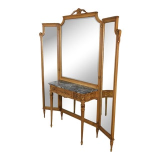1920's Vintage French Louis XVI Style Tri-Fold Mirror with Dressing Table, Vanity For Sale