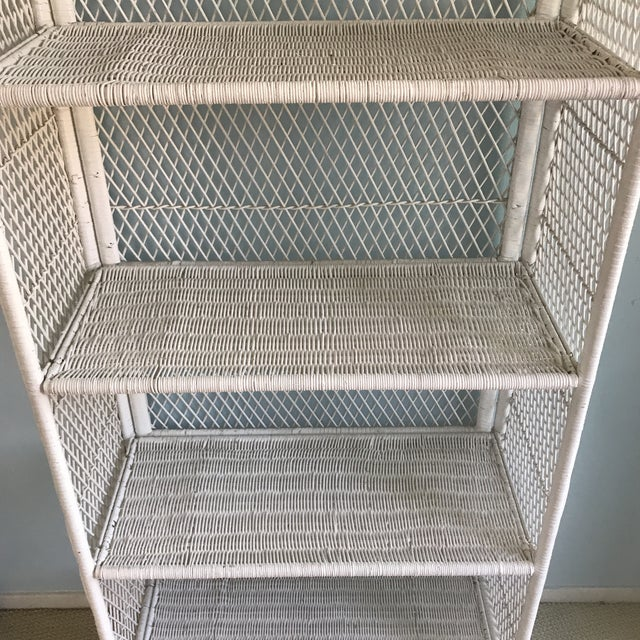 1970s Shabby Chic Victorian White Wicker 5-Shelf Wall Unit For Sale - Image 4 of 13