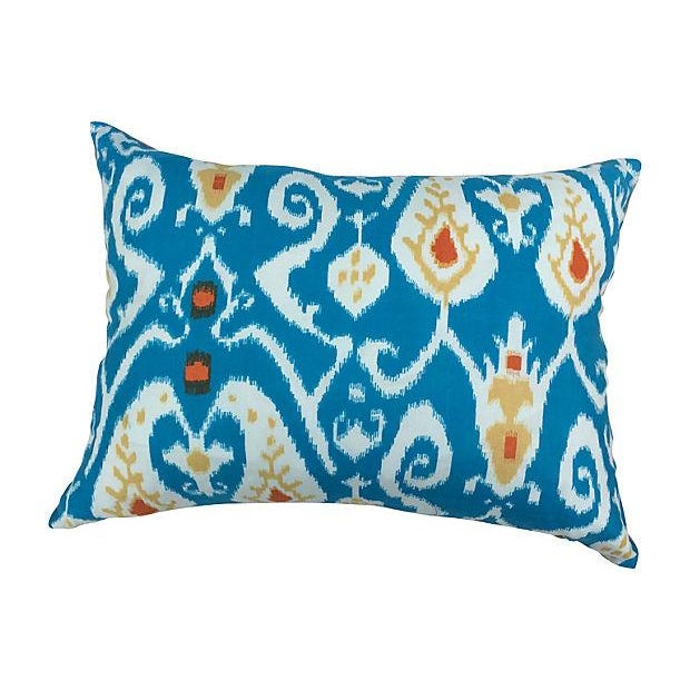 Turquoise Ikat Pillows - Pair - Image 3 of 4