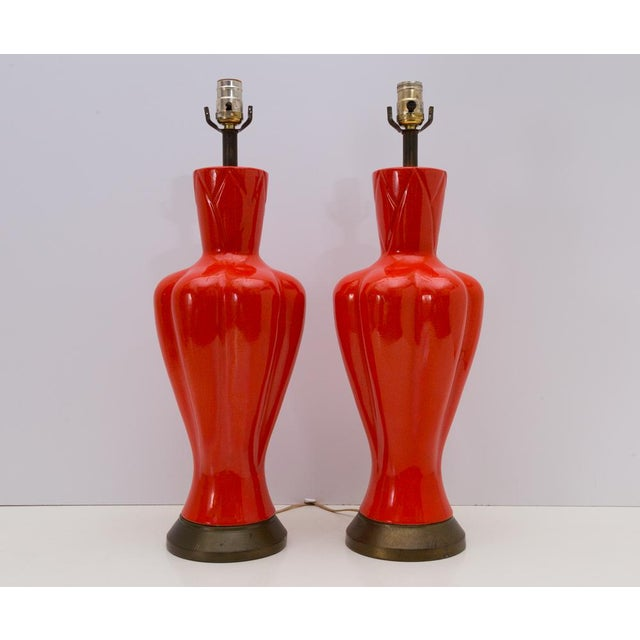Mid-Century Chinoiserie Orange Table Lamps - A Pair - Image 2 of 8