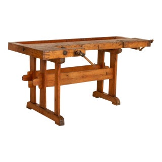 Antique Danish Carpenters Workbench Work Table For Sale