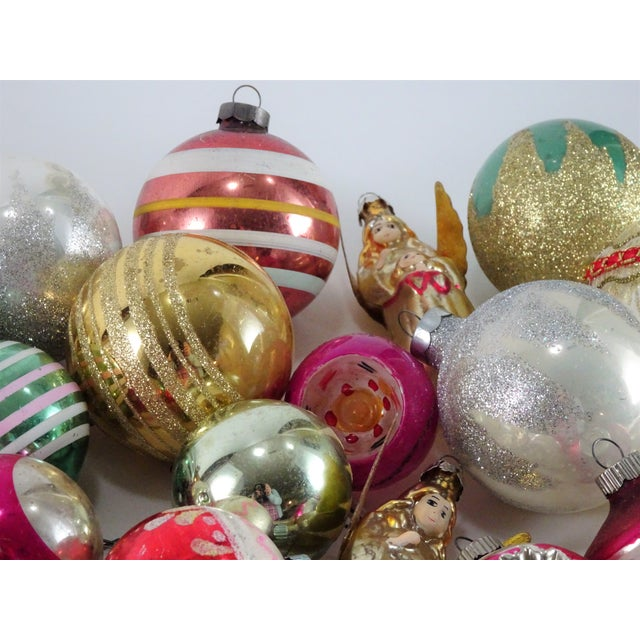 assorted vintage glass christmas ornaments from 50s to 70s all different shapes colors and
