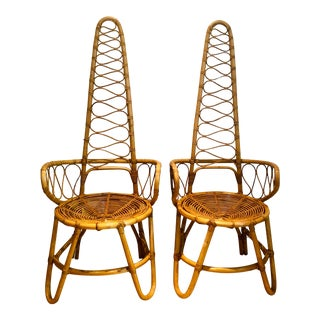 Mid-Century Albini Style Italian Bamboo and Rattan Arm Chairs- a Pair For Sale
