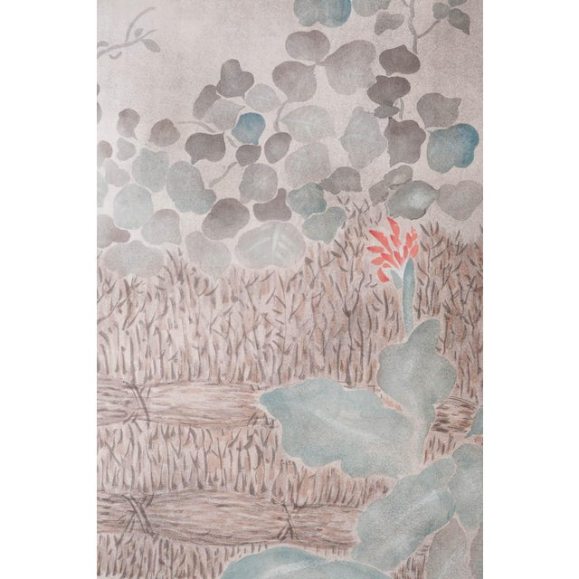 """Sung Tze-Chin Large Chinoiserie Hanging Screen Ink on Paper """"Brushed Wood Fence With Chrysanthemum"""" 11 Feet Wide by 6 Feet Height For Sale - Image 9 of 11"""