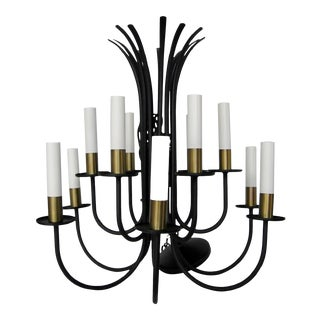 Lightolier Black 12-Arm Chandelier For Sale