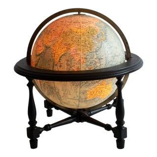 Vintage Mid Century Black Lacquer Lighted Globe on Stand For Sale