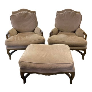 Kreiss Collection Marseilles Novasuede Lounge Chairs & Ottoman - Set of 3 For Sale