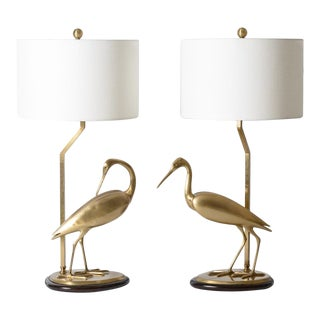 Brushed Brass Opposing Couple of Egret Lamps, A-Pair For Sale