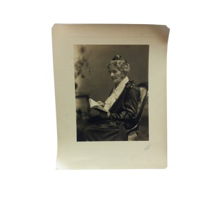 """1920s Vintage Hosluter """"Grandma Reading"""" Black & White Photograph For Sale"""