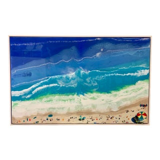 Abstract Framed Oil Painting With Resin on Canvas by Franchy For Sale